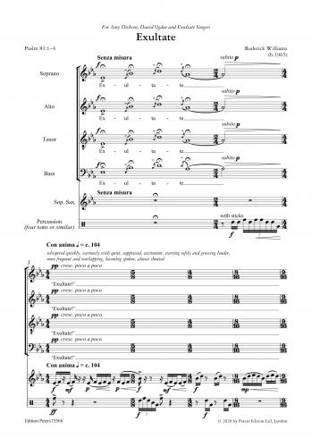 Exultate for SATB Choir, Soprano Saxophone and Percussion